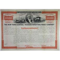 New York Central and Hudson River Rail Road Co., 1873 Specimen Bond Rarity.