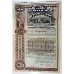Akron Street Railway and Illuminating Co, 1896 Specimen Bond.