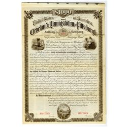 Cleveland, Youngstown and Pittsburgh Railway Co., 1882 Specimen Bond