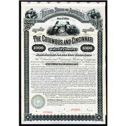 Columbus and Cincinnati Railway Co. 1881 Specimen Bond.