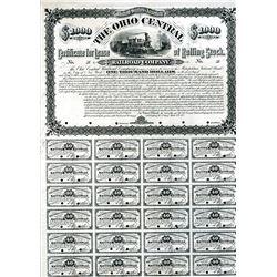 Ohio Central Railroad Company, 1882 Proof Bond.