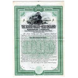 Scioto Valley and New England Railroad Co., 1889 Specimen Bond