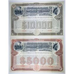 Cleveland, Cincinnati, Chicago & St. Louis Railway Co.  1890 Specimen Bond Pair
