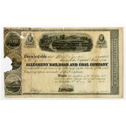 ALL-353,?Allegheny Railroad & Coal Co. 1855 Stock Certificate signed by Herman Haupt as President.