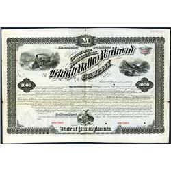 Lehigh Valley Railroad Co., 1873, $1000 Specimen Bond.