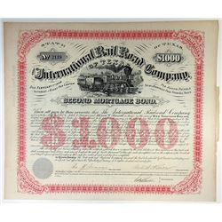 International Rail Road Co., 1874 Issued Bond