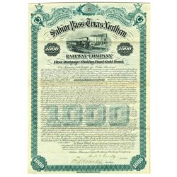 Sabine Pass & Texas Northern Railway Co. 1881 Issued Bond.