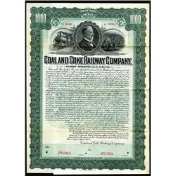 Coal and Coke Railway Co., 1904 Specimen 1st Mortgage 5% Gold Coupon Bond.