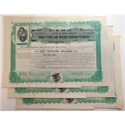 Glade Creek & Raleigh Railroad Co. 1897 Bond Trio