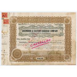 Greenbrier & Eastern Railroad Co. 1924 Stock Certificate.