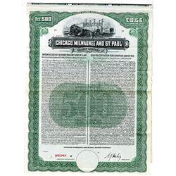Chicago, Milwaukee and St. Paul Railway Co., 1910 European Loan Specimen Bond