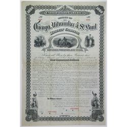 Chicago, Milwaukee and St.Paul Railway Co., South Western Division, 1879 Specimen Bond Rarity.