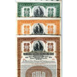 Milwaukee Electric Railway and Light Co., 1911, $1000 Specimen Bond Trio.