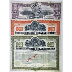 Northern Pacific and Northern Pacific-Great Northern Joint Group of Specimen Bonds, 1896 & 1901.