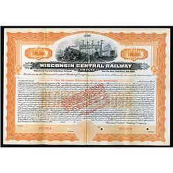 Wisconsin Central Railway Co. 1909 Specimen Bond