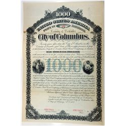 City of Columbus, County of Lewndes, 1882 Specimen Bond.