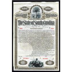 State of South Carolina 1893 Specimen Bond.