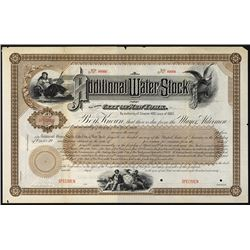 Additional Water Stock of the City of New York 1890's Specimen Bond.