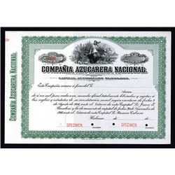 Compania Azucarera Nacional Specimen Share Certificate. 1900-20s.