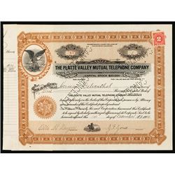 Platte Valley Mutual Telephone Co. 1914 I/C Stock Certificate.