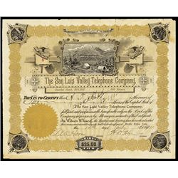 San Luis Valley Telephone Co. 1900 I/C Stock Certificate.