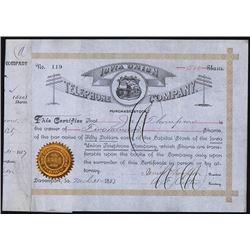 Iowa Union Telephone & Telegraph Co. 1887 I/C Stock Certificate.
