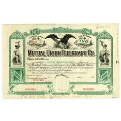 Mutual Union Telegraph Co. Used as Model for NY Mutual Telegraph. 1880's Specimen.