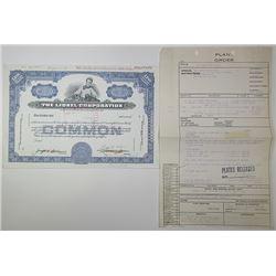 Lionel Corp., 1960 Production department Specimen Stock Certificate