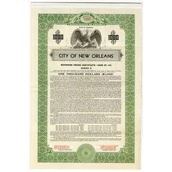 City of New Orleans, 1939 Specimen Bond.