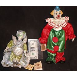 ZZ-CLEARANCE CLOWN COUPLE VINTAGE PORCELAIN DOLLS FROM UNKNOWN PRODUCTION