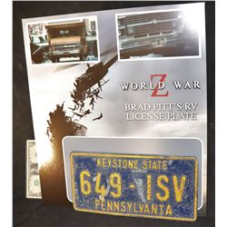 WORLD WAR Z SCREEN MATCHED LICENSE PLATE ON DISPLAY