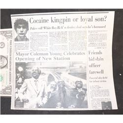 WHITE BOY RICK SCREEN USED NEWSPAPER CLIPPING