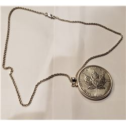 2011 1-oz Silver Maple Leaf with sterling silver bezel and necklace