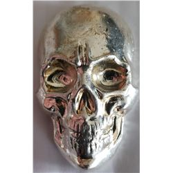 Hand-poured 5-oz pure .999 silver Skull