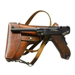 SWISS 1900 MILITARY LUGER, BERN REWORK, HOLSTER.