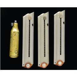 3 FLAT BUTTON SWISS LUGER MAGAZINES & CLEANING