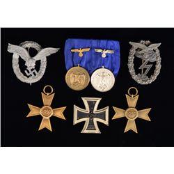 WWII GERMAN MEDAL & BADGE GROUP.