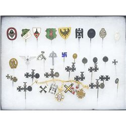 GROUP OF WWI & WWII GERMAN STICK PINS & WWI LAPEL