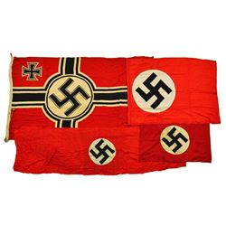 3 WWII GERMAN FLAGS & 1 BANNER.