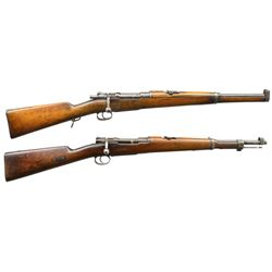 2 LOEWE BOLT ACTION CARBINES.