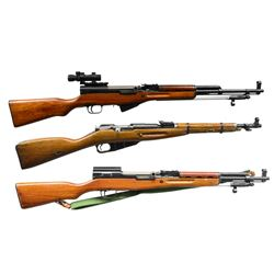 3 CHINESE MILITARY STYLE RIFLES.