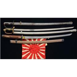 3 JAPANESE SWORDS & JAPANESE RISING SUN FLAG.