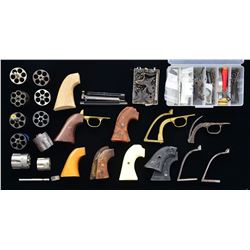 ASSORTED SINGLE ACTION REVOLVER PARTS.