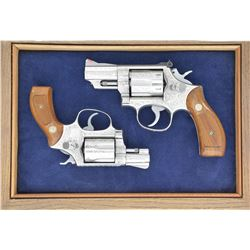 2 S&W STAINLESS ADAMS & ADAMS ENGRAVED REVOLVERS.