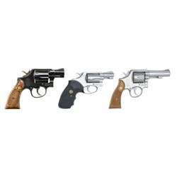 3 SMITH & WESSON 38 SPL. REVOLVERS; MODELS 10-5,