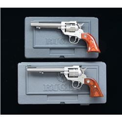 2 RUGER STAINLESS RIMFIRE NEW MODEL SA REVOLVERS.