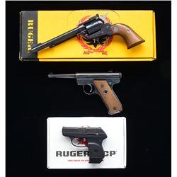 3 RUGER HANDGUNS; SINGLE-SIX, STANDARD AUTO & LCP.