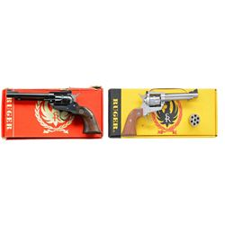 2 RUGER NEW MODEL SINGLE-SIX REVOLVERS.