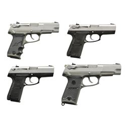 4 RUGER P SERIES STAINLESS SEMI-AUTO PISTOLS.