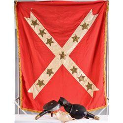 CIVIL WAR RICE BAG, POMMEL HOLSTERS & UCV FLAG.